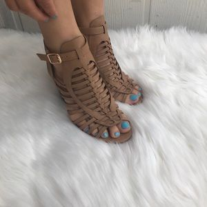 Shoes - Dark Sand tan strappy stacked sandals